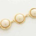 Pulsera con Tres Perlas Blancas Goldfield