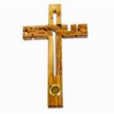 Cruz de Madera con letras Jesus tallada y tierra de Israel