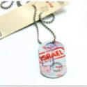 Colgante Chapa Pasaporte Israel con Cadena