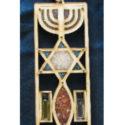 Colgante de Madera Rectangular Trio en colores con los tres elementos