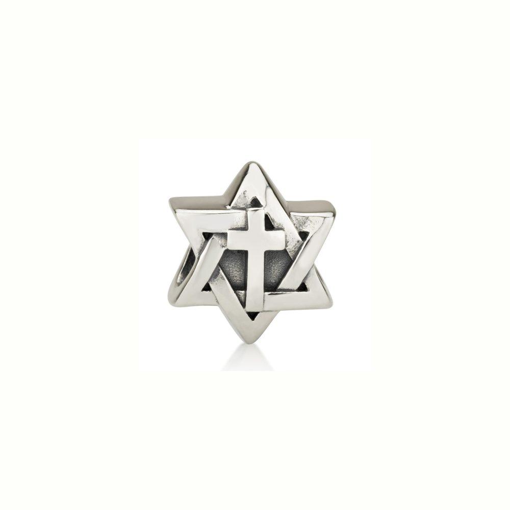 Dije Estrella de David con Cruz en el centro en Plata, Coleccion Charms de Israel