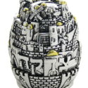 Hucha ciudad de Jerusalem de niquel tallada 15cm