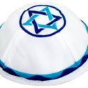 Kippa con estrella de David azul – Satén