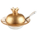 Plato para miel – Forma de granada dorada