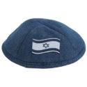 Kippa de tela vaquera azul con bandera de Israel