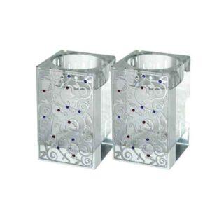 Portavelas de cristal con granadas
