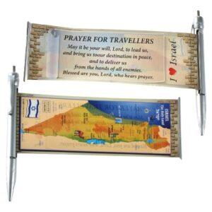 Bolígrafo con pergamino extensible con oración del viajero en inglés y el mapa de Israel