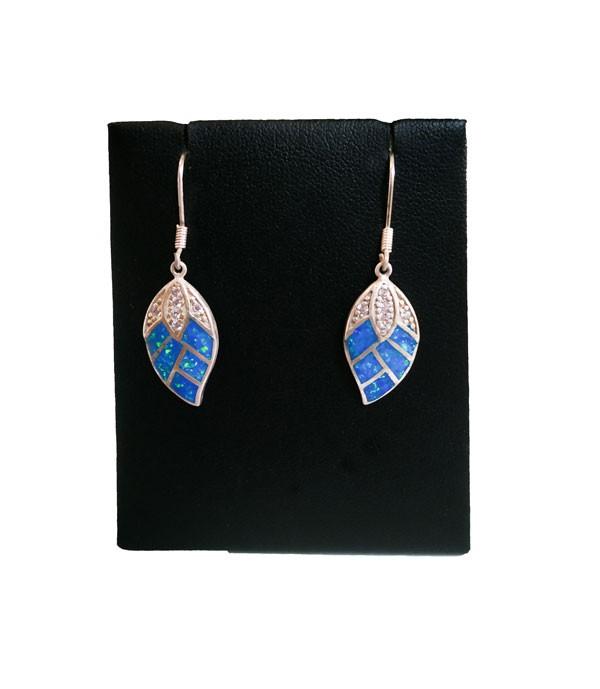 Pendientes en forma de hoja de plata piedra opal