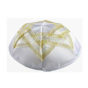 Kippa de Satén blanco Estrella de David cinta dorada