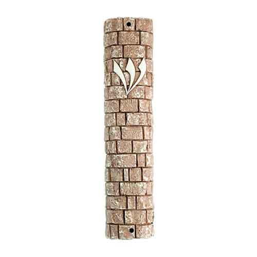 Mezuzah de cerámica y piedras del muro - Shin