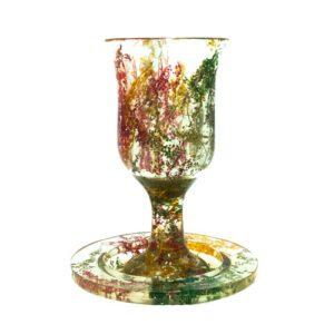 Copa Kiddush con plato en plástico y flores secas